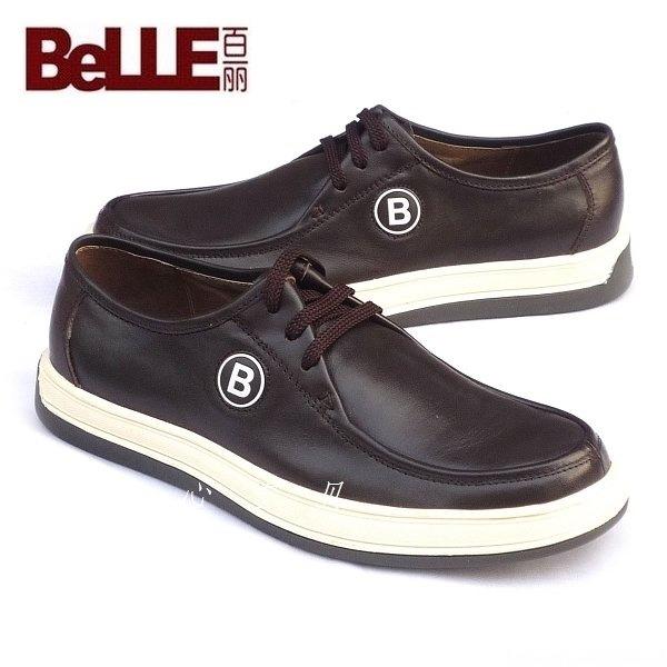 百丽belle黑色男士皮鞋